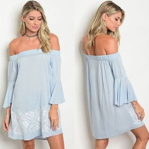 LORELI Off Shoulder Dress - SKY BLUE